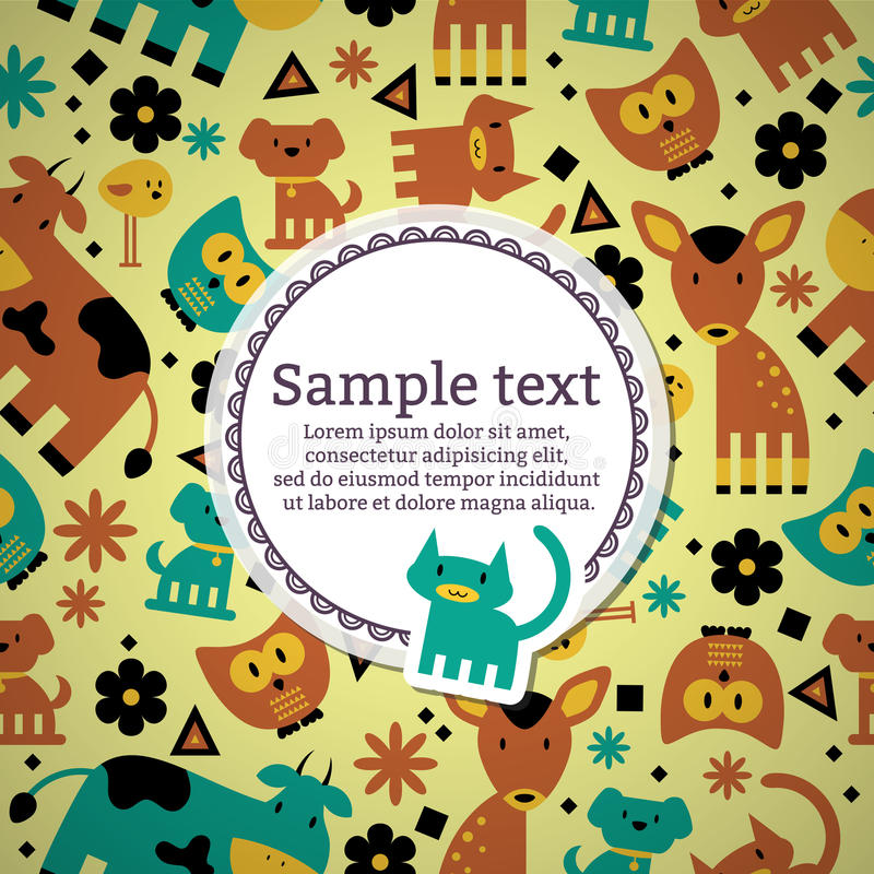 Κάρτα με τα χαριτωμένα ζώα διανυσματική απεικόνιση