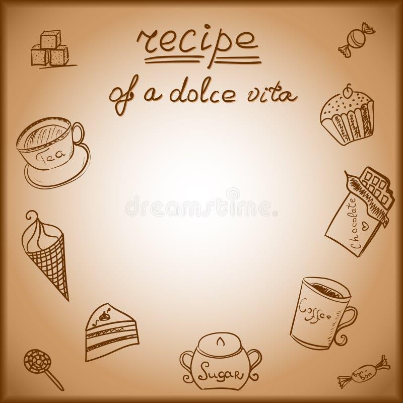 Κάρτα με την εικόνα γλυκών τροφίμων απεικόνιση αποθεμάτων