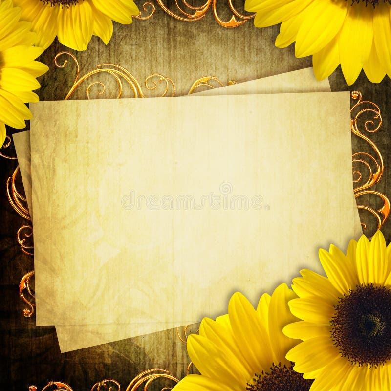 Κάρτα με τη δέσμη των ηλίανθων στοκ φωτογραφία με δικαίωμα ελεύθερης χρήσης