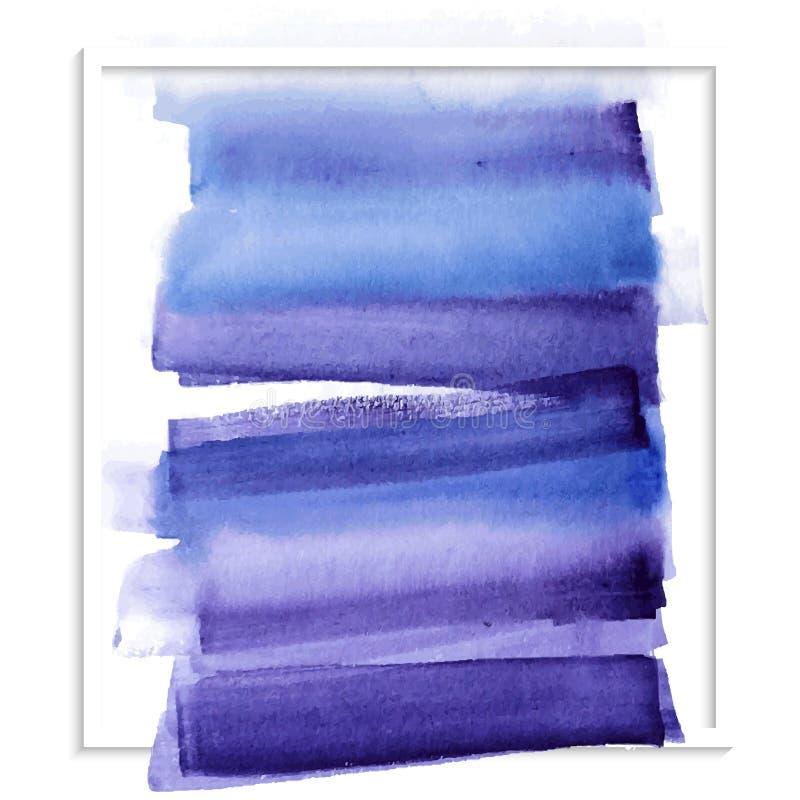 Κάρτα με τον μπλε λεκέ watercolor απεικόνιση αποθεμάτων