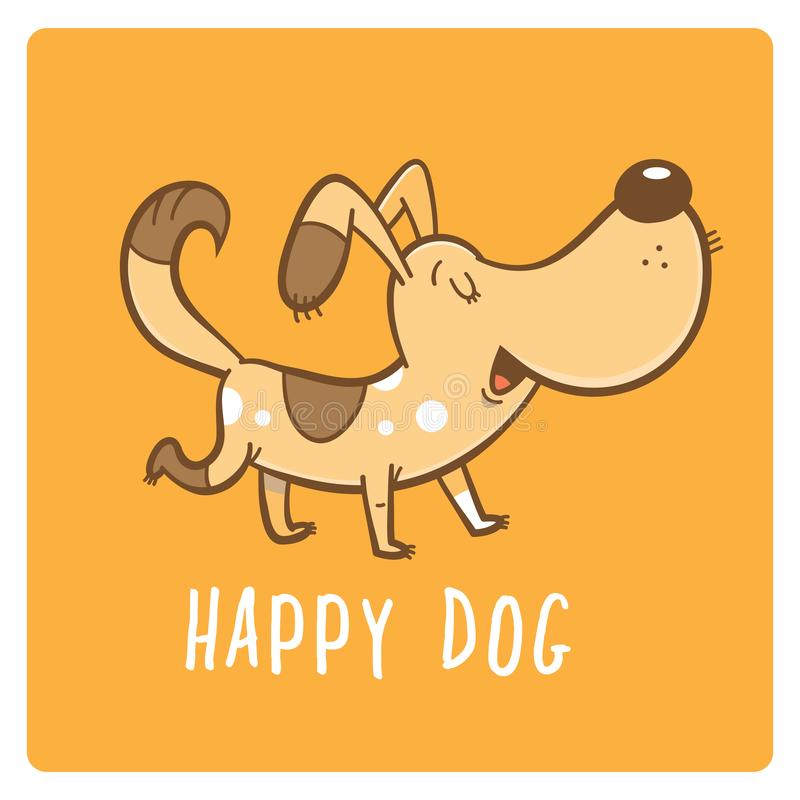 Κάρτα με το σκυλί διανυσματική απεικόνιση