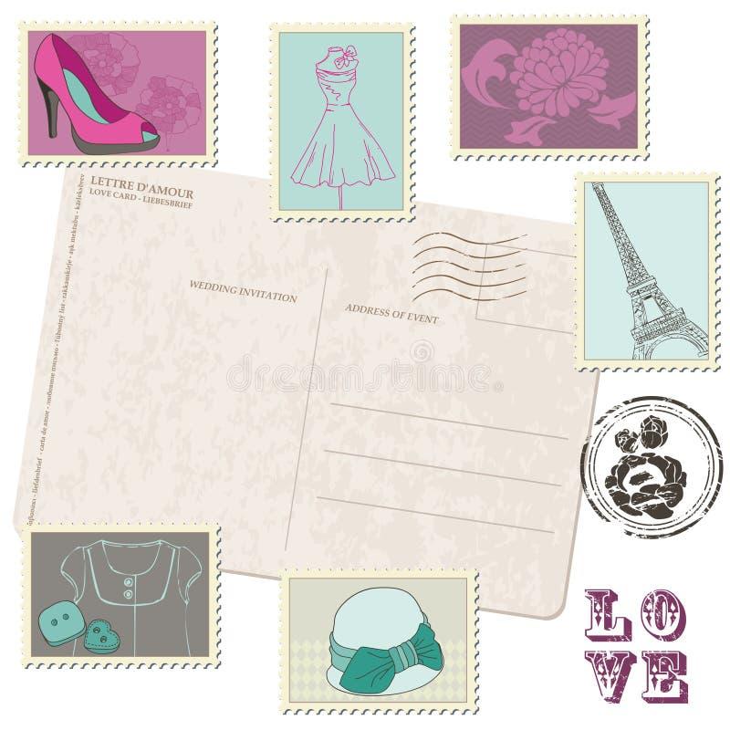 Κάρτα με το σύνολο γραμματοσήμων μόδας διανυσματική απεικόνιση