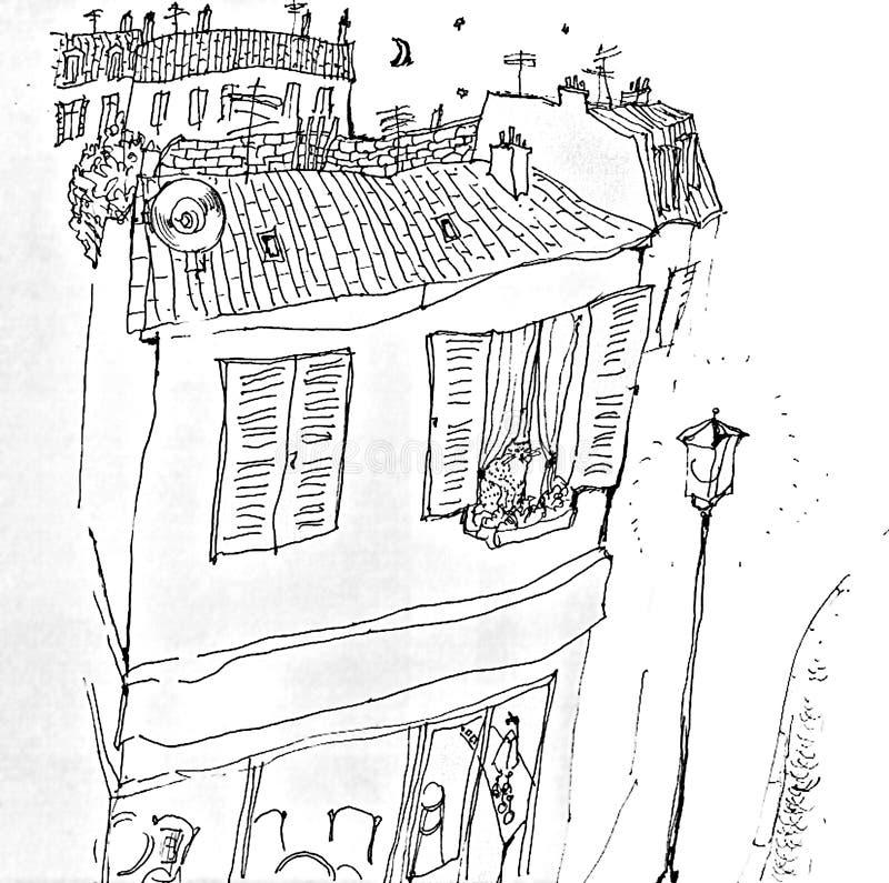Κάρτα με το τοπίο του Παρισιού και η γάτα στο παράθυρο ελεύθερη απεικόνιση δικαιώματος