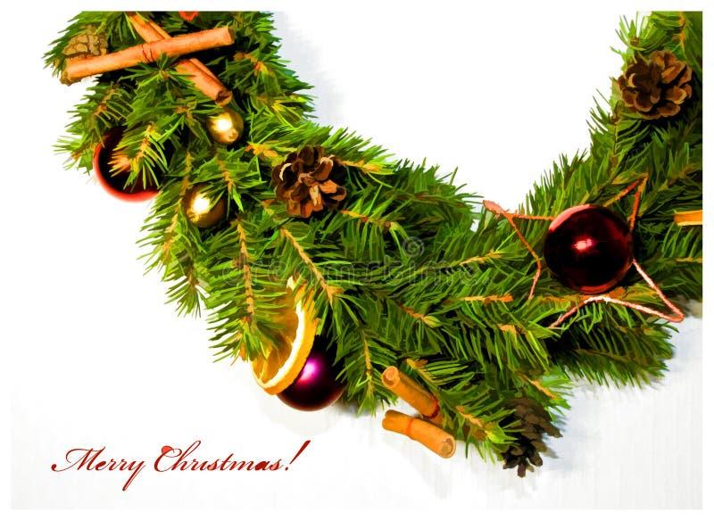 Κάρτα με το floral στεφάνι Χριστουγέννων ελεύθερη απεικόνιση δικαιώματος