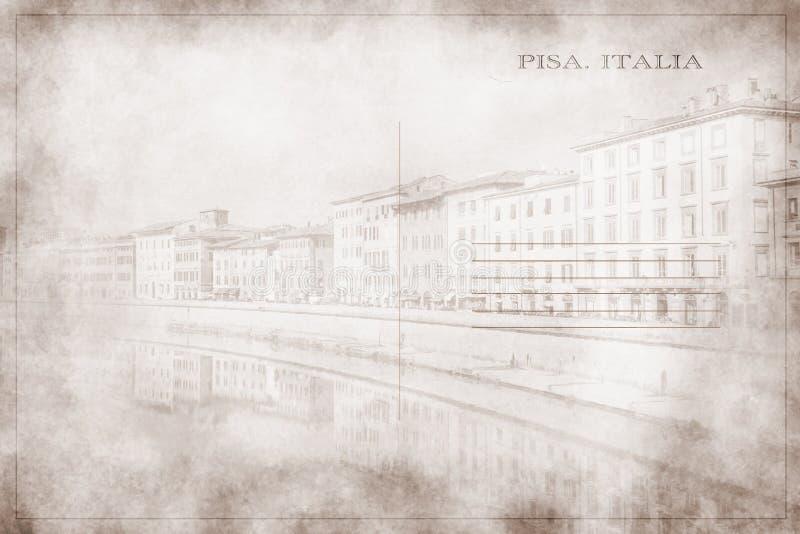 Κάρτα μιας άποψης του ποταμού Arno καθώς περνά μέσω της Πίζας στοκ εικόνες