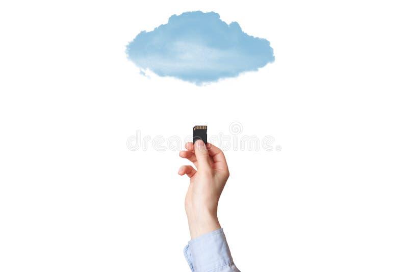 Κάρτα μνήμης εκμετάλλευσης SD χεριών που απομονώνεται στο άσπρο υπόβαθρο στοκ φωτογραφία με δικαίωμα ελεύθερης χρήσης