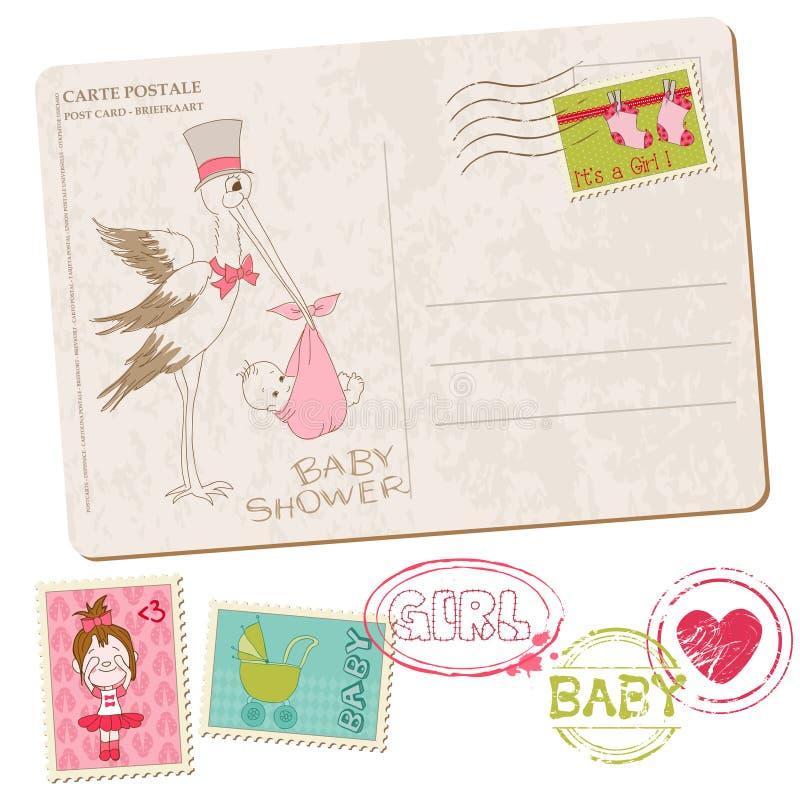 Κάρτα ντους κοριτσακιών με το σύνολο γραμματοσήμων απεικόνιση αποθεμάτων