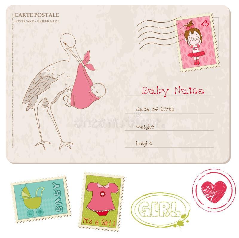 Κάρτα ντους κοριτσακιών με το σύνολο γραμματοσήμων ελεύθερη απεικόνιση δικαιώματος