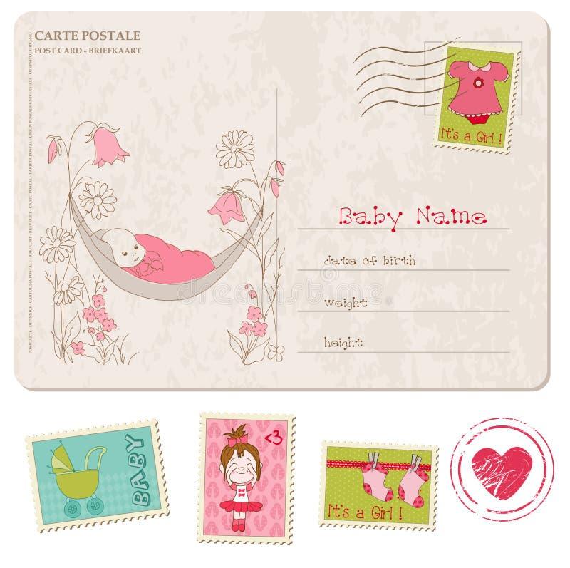 Κάρτα ντους κοριτσακιών με το σύνολο γραμματοσήμων διανυσματική απεικόνιση