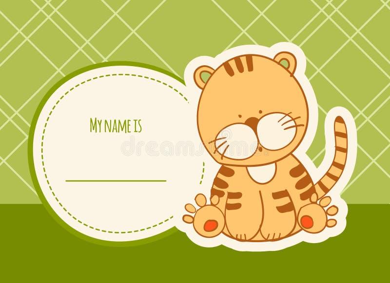Κάρτα ντους μωρών με την τίγρη στοκ φωτογραφία με δικαίωμα ελεύθερης χρήσης