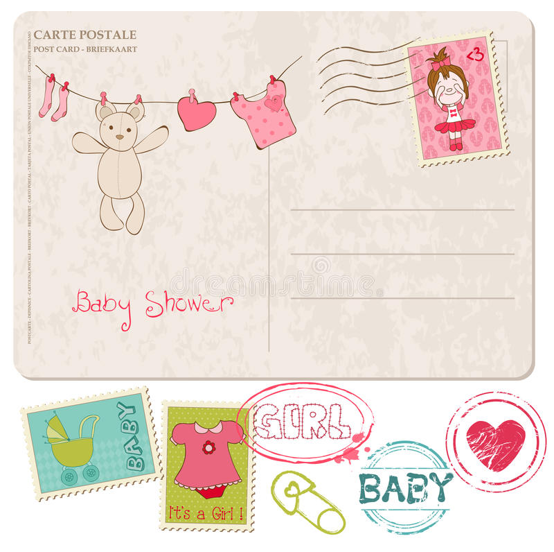 Κάρτα ντους μωρών με το σύνολο γραμματοσήμων απεικόνιση αποθεμάτων