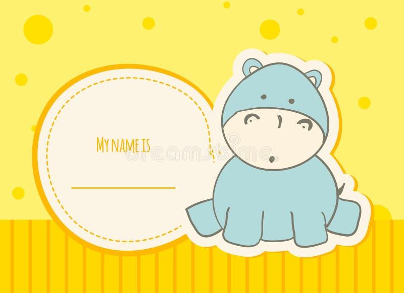 Κάρτα ντους μωρών με το hippo στοκ εικόνα