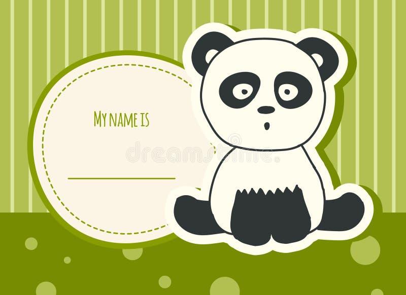 Κάρτα ντους μωρών με το panda στοκ φωτογραφίες