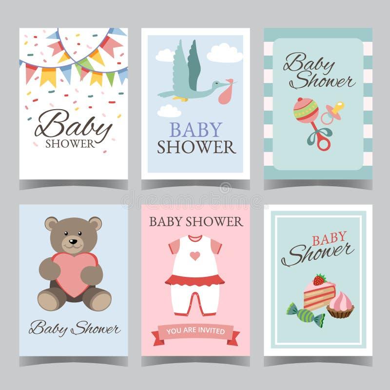 Κάρτα ντους μωρών που τίθεται για το αγόρι για το κόμμα κοριτσιών χρόνια πολλά του ένα αγόρι του ένα διάνυσμα αφισών καρτών πρόσκ διανυσματική απεικόνιση