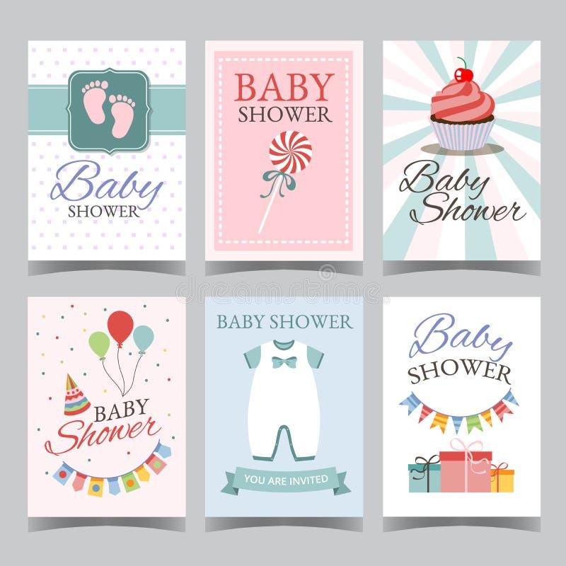 Κάρτα ντους μωρών που τίθεται για το αγόρι για το κόμμα κοριτσιών χρόνια πολλά του ένα αγόρι του ένα διάνυσμα αφισών καρτών πρόσκ απεικόνιση αποθεμάτων