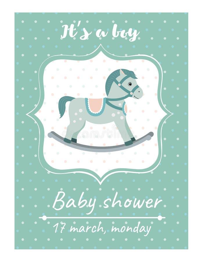 Κάρτα ντους μωρών πρόσκλησης με το λίκνο Κάρτα με τη θέση για το κείμενό σας ελεύθερη απεικόνιση δικαιώματος