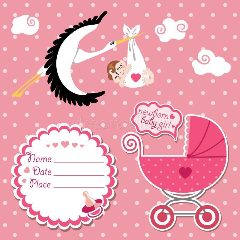 Κάρτα ντους μωρών, πρόσκληση, λεύκωμα αποκομμάτων με τον πελαργό και ευρωπαϊκές ΓΠ ελεύθερη απεικόνιση δικαιώματος