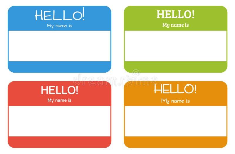 Κάρτα ονόματος εισαγωγής με την κλασική φράση: Γειά σου! Το όνομά μου είναι, s ελεύθερη απεικόνιση δικαιώματος