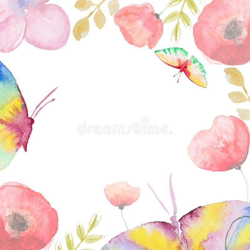 Κάρτα λουλουδιών Watercolor ελεύθερη απεικόνιση δικαιώματος