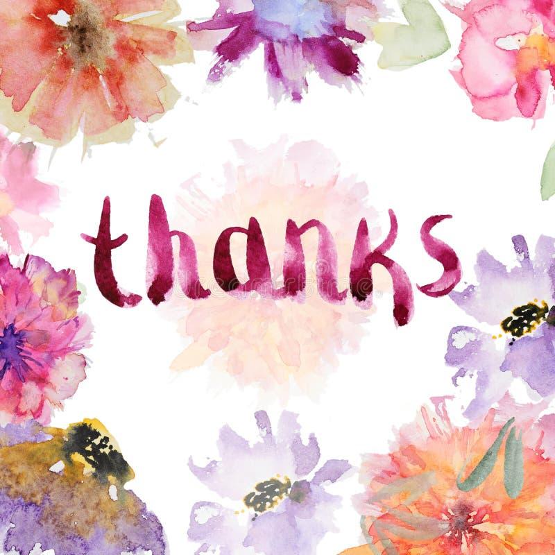 Κάρτα λουλουδιών Watercolor διανυσματική απεικόνιση