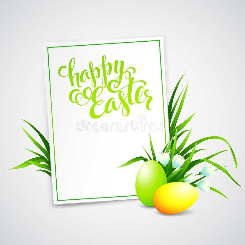 Κάρτα Πάσχας με τα αυγά και τα λουλούδια διάνυσμα απεικόνιση αποθεμάτων