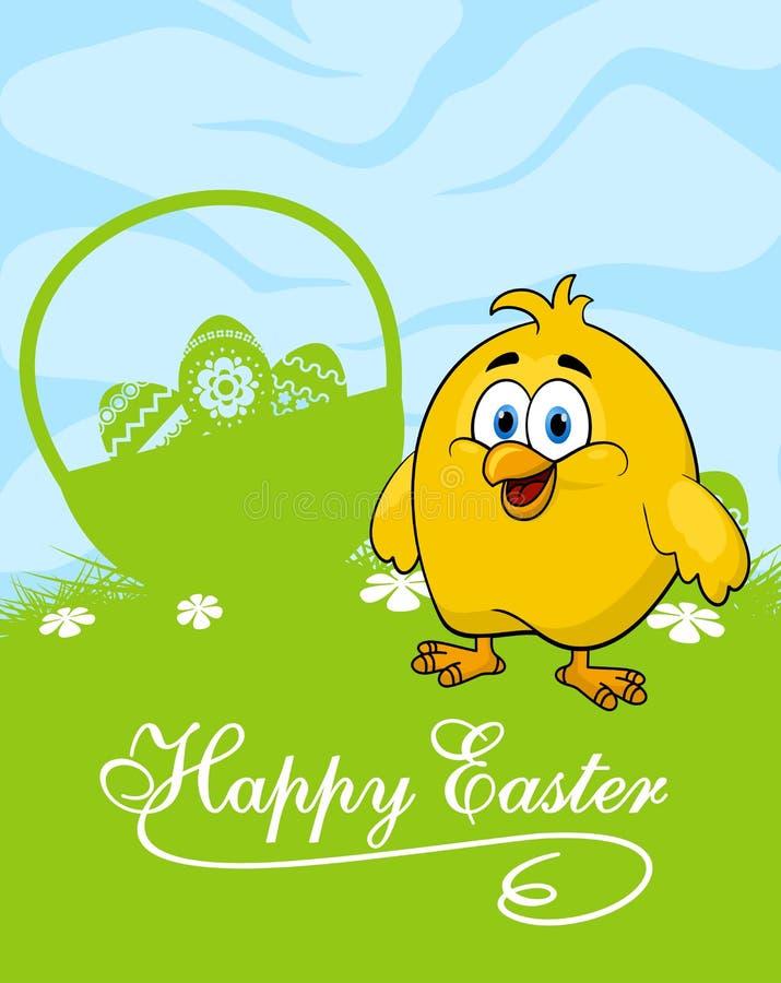 Κάρτα Πάσχας με τα διακοσμημένα αυγά και το χαριτωμένο κοτόπουλο διανυσματική απεικόνιση