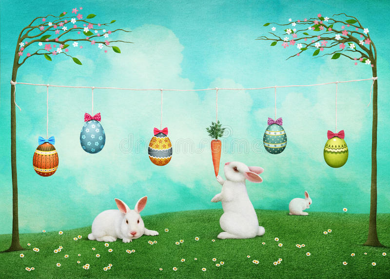 Κάρτα Πάσχας με τα κουνέλια και τα αυγά απεικόνιση αποθεμάτων