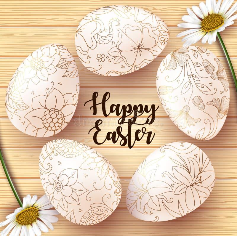 Κάρτα Πάσχας με τα ρεαλιστικά αυγά στο ξύλινο υπόβαθρο σύστασης ελεύθερη απεικόνιση δικαιώματος