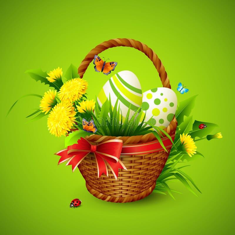 Κάρτα Πάσχας με το καλάθι, τα αυγά και τα λουλούδια διάνυσμα διανυσματική απεικόνιση