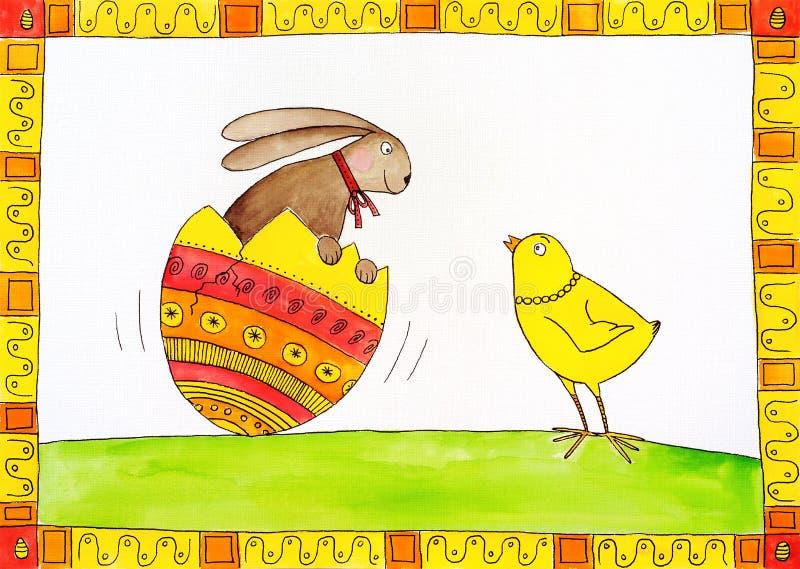 Κάρτα Πάσχας, childs σχέδιο, ζωγραφική watercolor απεικόνιση αποθεμάτων