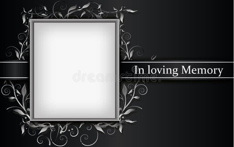 Κάρτα πένθους με το πλαίσιο φωτογραφιών και την τρισδιάστατη floral επίδραση διανυσματική απεικόνιση