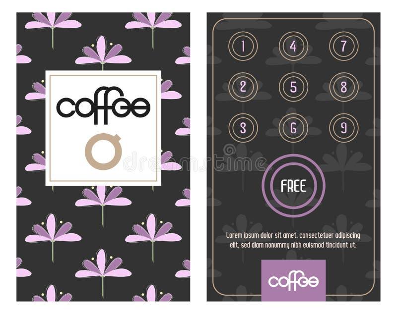 Κάρτα πίστης Αγοράστε 10 παίρνει 1 ελεύθερο Σχέδιο με τις κομψές συρμένες χέρι ανθίσεις διανυσματική απεικόνιση