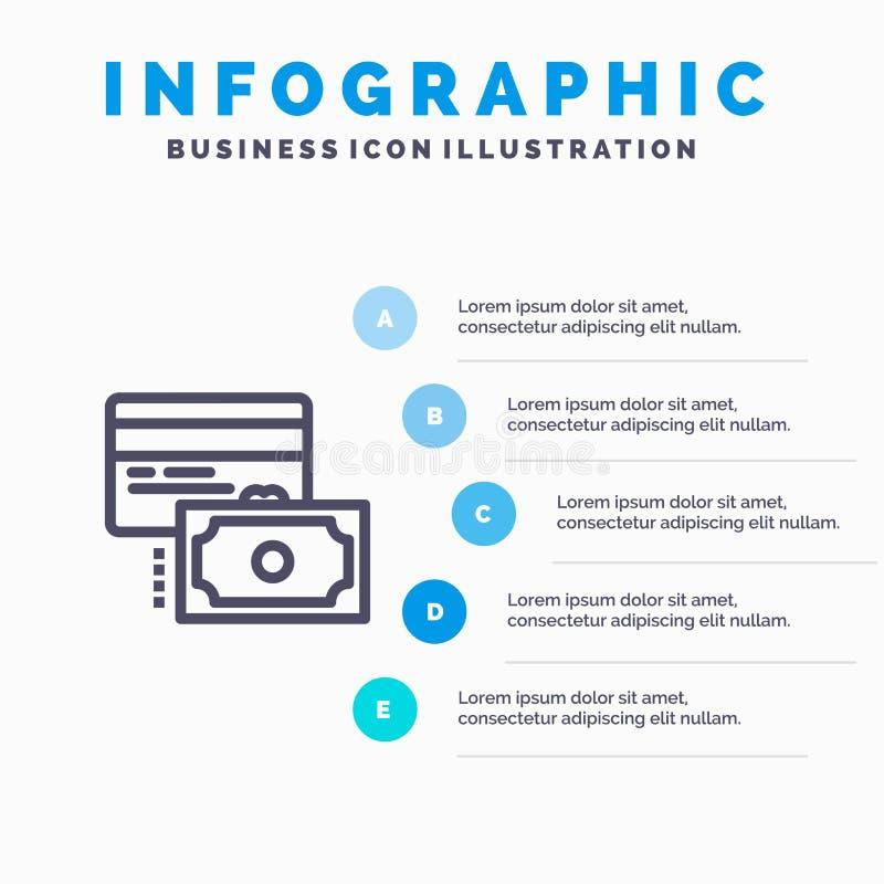 Κάρτα, πίστωση, πληρωμή, μπλε πρότυπο 5 Infographics χρημάτων βήματα Διανυσματικό πρότυπο εικονιδίων γραμμών διανυσματική απεικόνιση