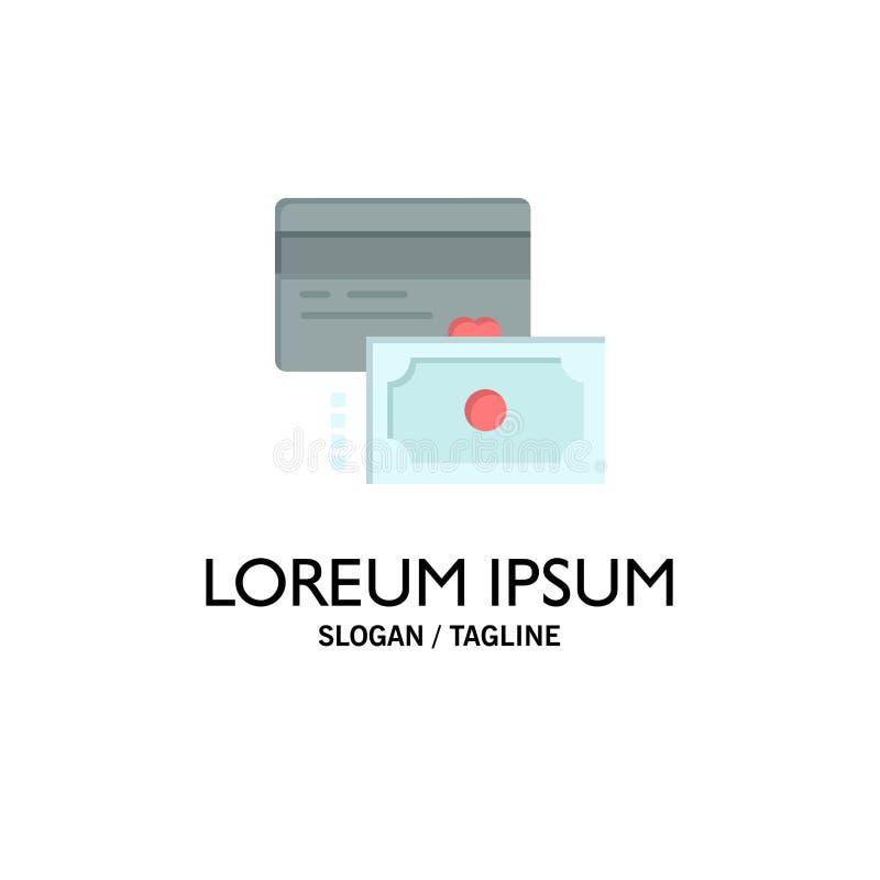 Κάρτα, πίστωση, πληρωμή, πρότυπο επιχειρησιακών λογότυπων χρημάτων Επίπεδο χρώμα ελεύθερη απεικόνιση δικαιώματος
