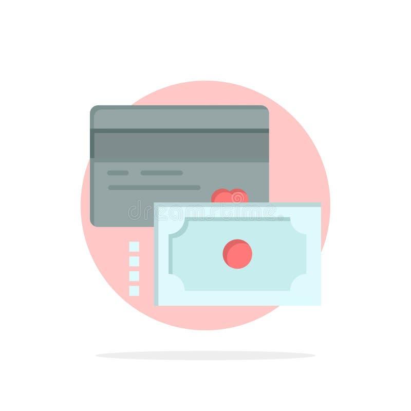 Κάρτα, πίστωση, πληρωμή, χρημάτων αφηρημένο κύκλων εικονίδιο χρώματος υποβάθρου επίπεδο ελεύθερη απεικόνιση δικαιώματος