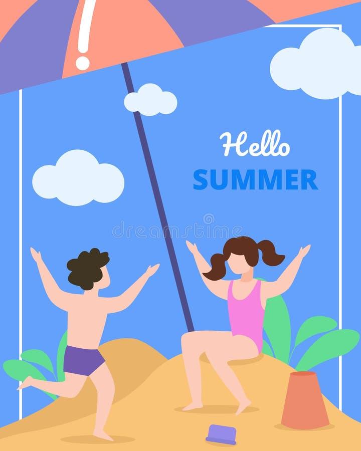 Κάρτα παιδιών με το καλοκαίρι επιγραφής γειά σου διανυσματική απεικόνιση
