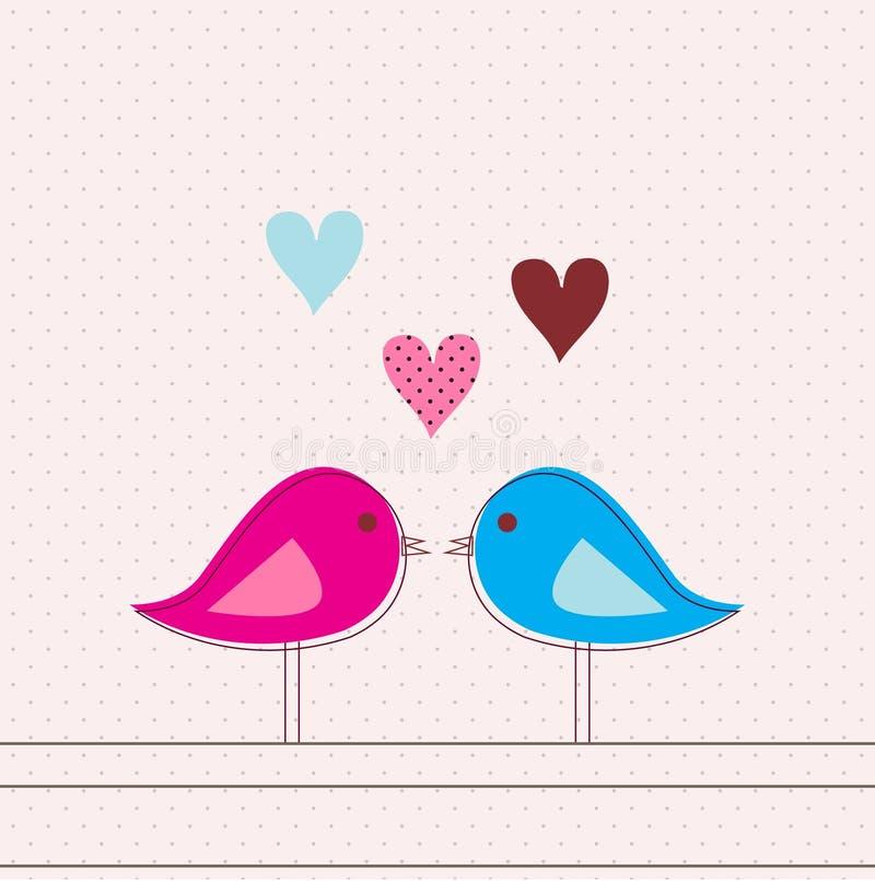 κάρτα πουλιών ρομαντική ελεύθερη απεικόνιση δικαιώματος