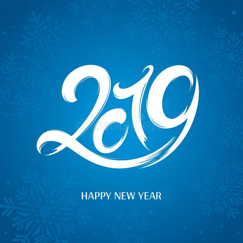 κάρτα που χαιρετά το νέο έτος έτος του 2019 διανυσματική απεικόνιση