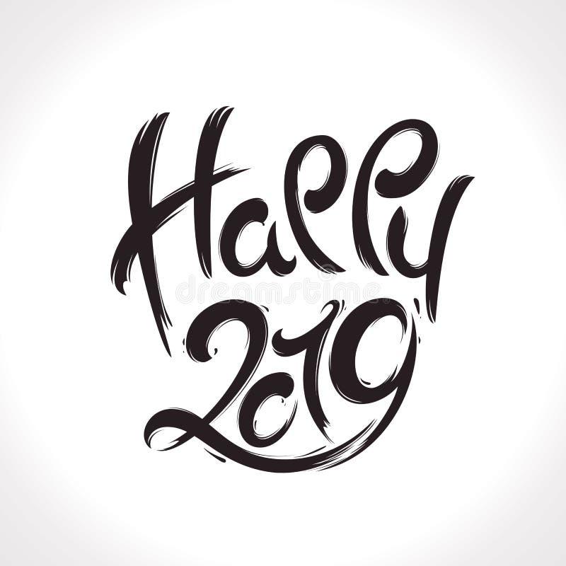 κάρτα που χαιρετά το νέο έτος έτος του 2019 ελεύθερη απεικόνιση δικαιώματος