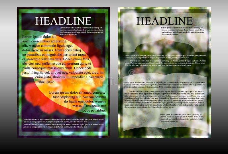 Κάρτα προτύπων φυλλάδιων με ένα floral υπόβαθρο απεικόνιση αποθεμάτων