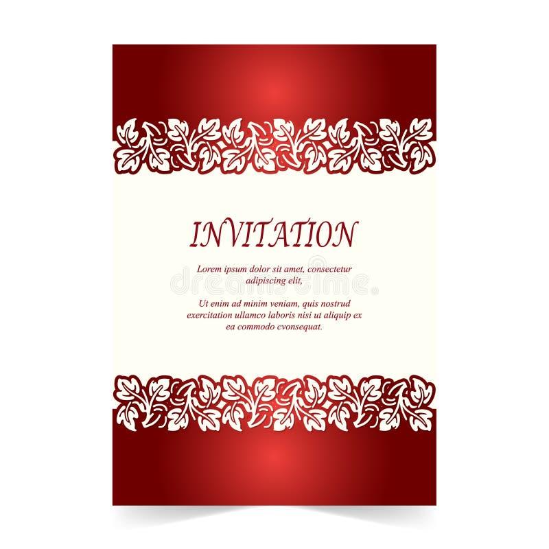 Κάρτα πρόσκλησης, γαμήλια κάρτα στο ελεφαντόδοντο και κόκκινο ελεύθερη απεικόνιση δικαιώματος