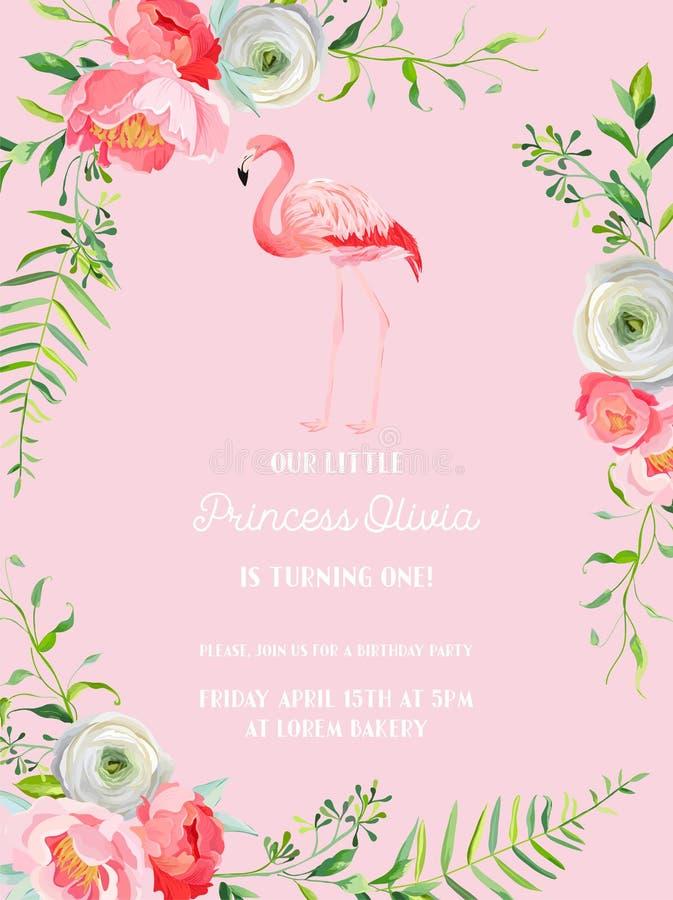 Κάρτα πρόσκλησης γενεθλίων μωρών με την απεικόνιση του όμορφων φλαμίγκο και των λουλουδιών, ανακοίνωση άφιξης, χαιρετισμοί ελεύθερη απεικόνιση δικαιώματος