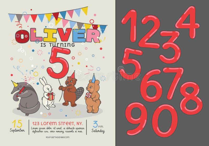 Κάρτα πρόσκλησης για τη γιορτή γενεθλίων παιδιών s απεικόνιση αποθεμάτων