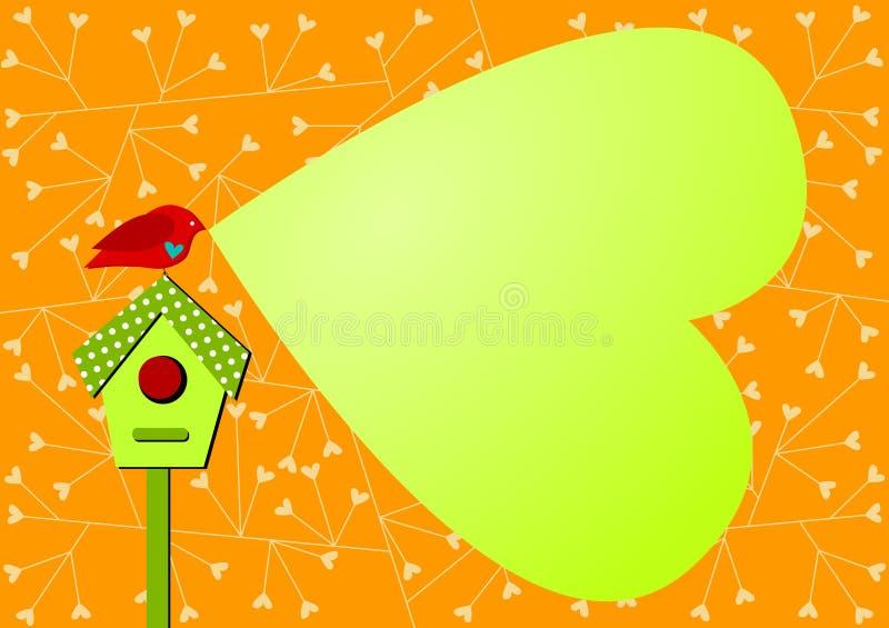 Κάρτα πρόσκλησης με τη λεκτική καρδιά πουλιών και φυσαλίδων διανυσματική απεικόνιση