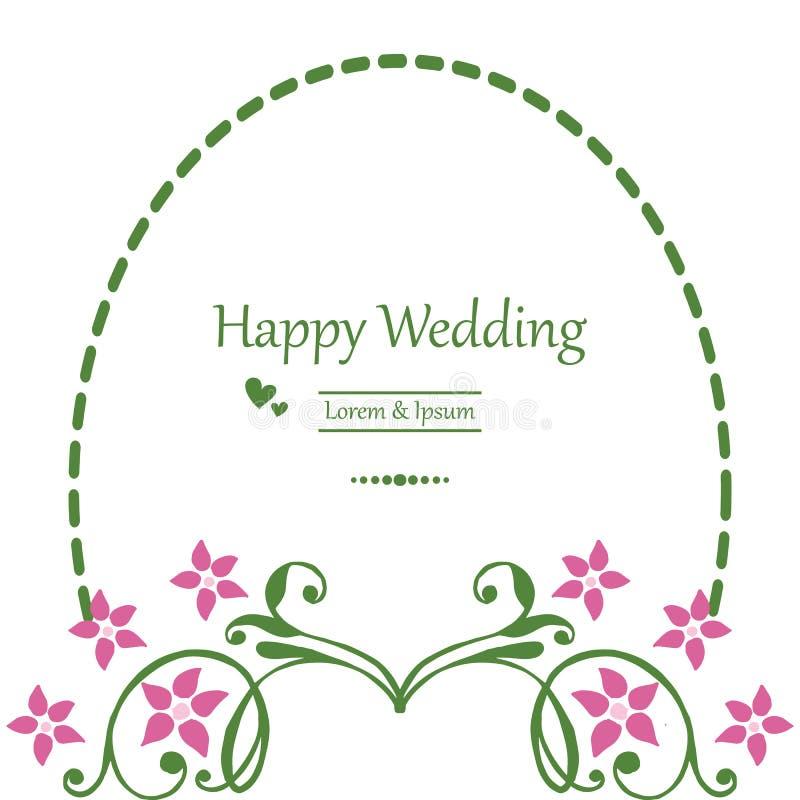 Κάρτα πρόσκλησης με τη floral διακόσμηση, κομψό πλαίσιο σχεδίων, εγγραφή του ευτυχούς γάμου r διανυσματική απεικόνιση