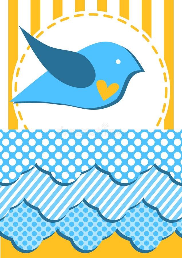 Κάρτα πρόσκλησης με το πουλί που πετά πέρα από τα σύννεφα διανυσματική απεικόνιση