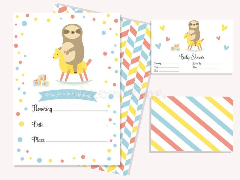 Κάρτα πρόσκλησης ντους μωρών με τη χαριτωμένη νωθρότητα διανυσματική απεικόνιση