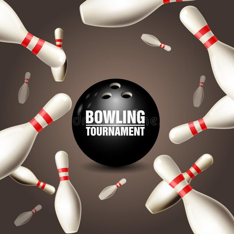 Κάρτα πρόσκλησης πρωταθλημάτων μπόουλινγκ - πλαίσιο skittles απεικόνιση αποθεμάτων