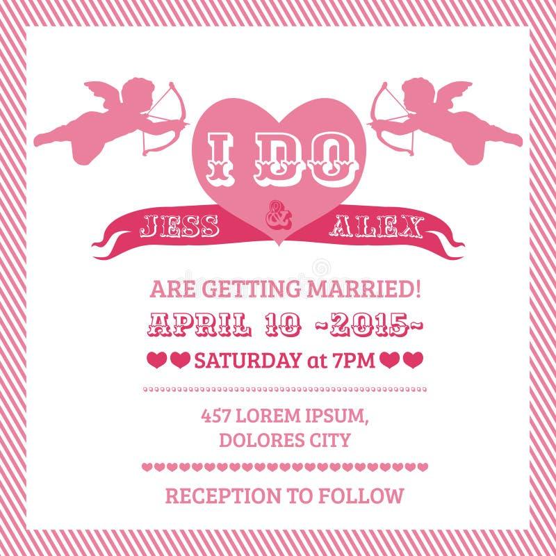 Κάρτα πρόσκλησης γαμήλιου αγγέλου ελεύθερη απεικόνιση δικαιώματος