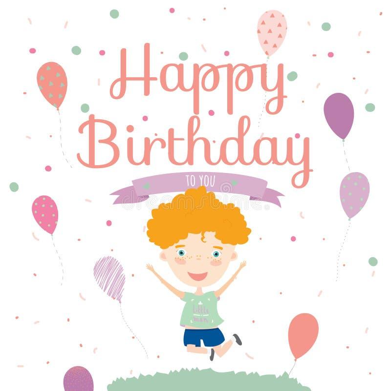 Κάρτα πρόσκλησης γιορτής γενεθλίων με το χαριτωμένο αγόρι ελεύθερη απεικόνιση δικαιώματος